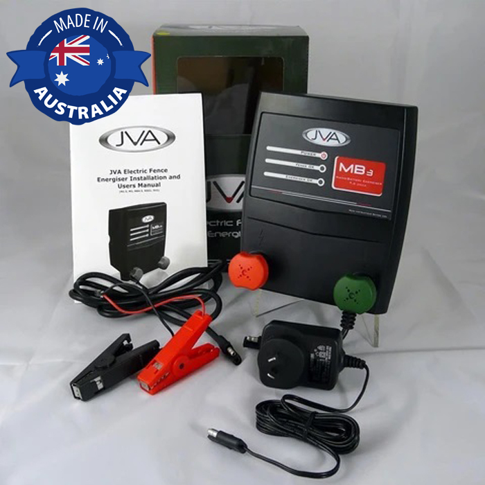 JVA MB3 Electric Fence Energizer with 50W Solar Kit